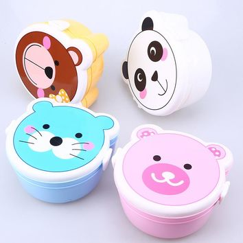 Double Layer Bento Box Portable Plastic Cartoon Food Storage Microwave Oven Lunch Container Box for Children Adults