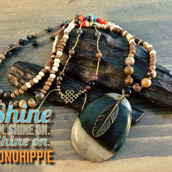 Boho hippie jewelry, native american tribal necklace