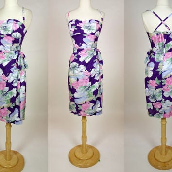 1980's purple Hawaiian wiggle dress, Polynesian sarong wrap dress w/ spaghetti straps and floral print, rayon summer sun dress, Small, US 6