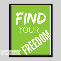 Find Your Freedom Print, Bike Rider Wall Art, BMX Typography, Teen Room, Nursery Decor, Children's Room, Playroom Decor