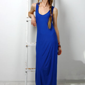 Maxi Dress Casual blue sundress sapphire sleeveless cocktail dress evening dress rayon long  dress maxi blue dress racerback tank dress