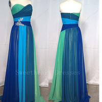 Fantastic Long Strapless Sweetheart Chiffon Prom Dress
