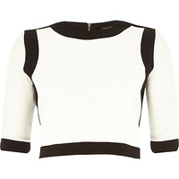 River Island Womens Black border fitted boxy crop top