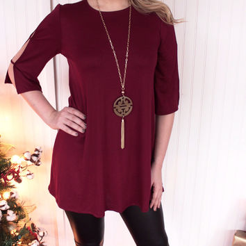 Burgundy Open-Shoulder Dress