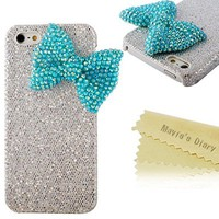 Mavis's Diary Bling Handmade 3D Stylish Big Bow Shining Back Case Cover for Apple Iphone 5 5S with Soft Clean Cloth (Blue Bow Silver Case)