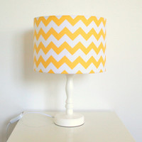 Sunshine yellow and white chevron fabric lampshade for table or floor lamps