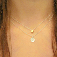 Sterling Silver Layered Tiny Gold Star and Letter Initial Disc Necklace Bridesmaids Birthday Double Strand Necklace Mother's Necklace
