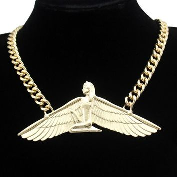 Egyptian Goddess choker statement necklace gold chunky chain jewelry