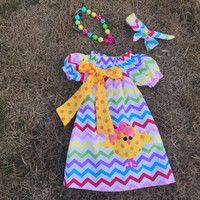 Preorder-rainbow Chevron Easter Dress