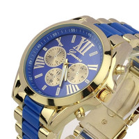 Fashion Men Full steel Quartz watch women luxury casual dress wristwatches ladies gold dial clock Alloy relogio