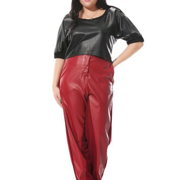 Plus size  pencil pants women with pu patchwork  loose leather pants with black and red  3xl-6xl spring autumn winter  1121