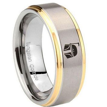 8MM Step Edges Star Wars Boba Fett Sci Fi Science 14K Gold IP Tungsten 2 Tone Laser Engraved Ring