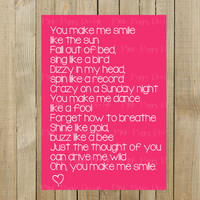 """Sweet Card with """"Smile"""" Lyrics for Valentines Day or Anniversary, Pink with White Font and Heart, Blank on Inside, Digital File, Printable"""