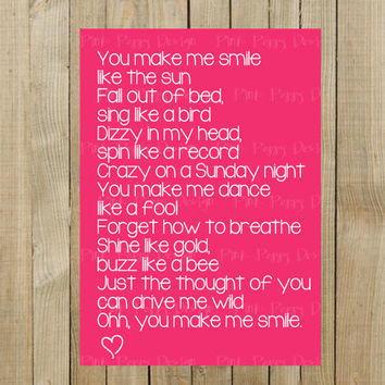 "Sweet Card with ""Smile"" Lyrics for Valentines Day or Anniversary, Pink with White Font and Heart, Blank on Inside, Digital File, Printable"
