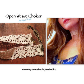 Open weave Choker Necklace.  Adjustable size.  Versatile accessory.  Christmas, holiday, Hanukah outfit.  Style, fashion, trendy, runway.