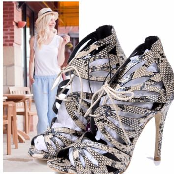 Trendy Snakeskin Open Toe Lace Ankle High Heels