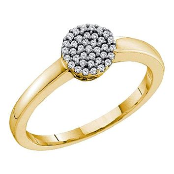 10kt Yellow Gold Women's Round Diamond Simple Cluster Ring 1/8 Cttw - FREE Shipping (US/CAN)