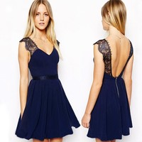 Sexy Women Summer Sleeveless Backless Cocktail Evening Party Lace Mini Dress