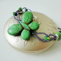 Stone Bracelet Green Howlite Butterfly Antique Silver Cross