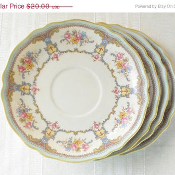 On Sale Vintage Franconia K&A Krautheim Cottage Style Saucers, Set of 4, Selb Bavaria Germany, Tea Party, Wedding