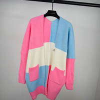Womens Comfortable Candy Color Pullover Cardigan Sweater