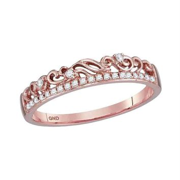 10k Rose Gold Women's Diamond Floral Accent Stackable Ring