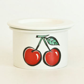 "Vintage Arabia Finland ""Tutti Frutti"" Cherry Jam Jar, Finnish Mid Century Jelly or Sugar Jar or Storage Container with Lid"