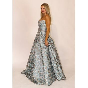 Rose Gold Floral Metallic Formal Gown