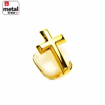 Jewelry Kay style Men's Hip Hop 14K Gold Plated Open Single Cross Grillz Single Teeth SC L01 G