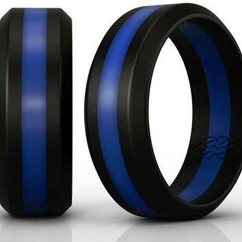 Thin Blue Line Silicone Wedding Ring