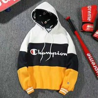 Champion Fashion Couple Casual Print Joining Together Hoodie Sweater Pullover Top Sweatshirt