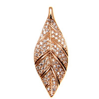 ROSE GOLD ON SOLID 925 STERLING SILVER HAWAIIAN MAILE LEAF SLIDE PENDANT CZ