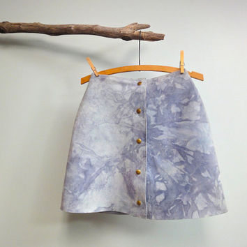 1960s Blue Suede Mini Skirt, Brass Snaps, Marbleized Tie Dye GO GO Skirt