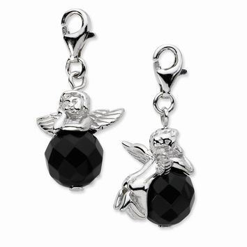 Sterling Silver Click-on Polished Angel W/ Moveable Black Onyx Stone Charm