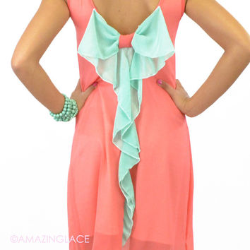 Summer Daze Bow Back Tank Dress Coral & Mint