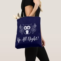 Up All Night? Retro Owl and Roses Cute Funny Tote Bag