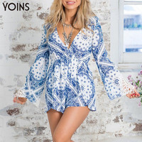 YOINS 2016 Woman Sexy Deep V Neck Backless Longsleeve Playsuit Fashion Back Tie Slim Jumpsuit Casual Print Hollow Out Jumper