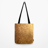 Golden Glitter Shiny Tote Bag by WonderfulDreamPicture