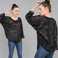 Vintage 80s Black Beaded Blouse Silk Sequin Top Batwing Sleeve DECO Cocktail Party Blouse Small Medium S M