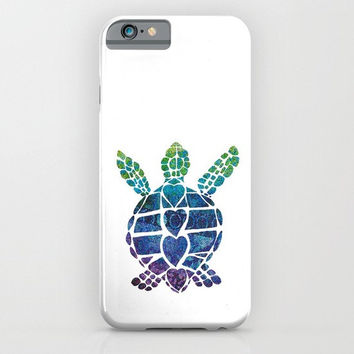 Sea Turtle Phone Case -  iphone 6, 5, Samsung S4, S5, S6 and Edge, blue, green, indigo purple protective,  surf beach coastal style