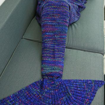 Warmth Colorful Crochet Knitting Mermaid Tail Design Blanket