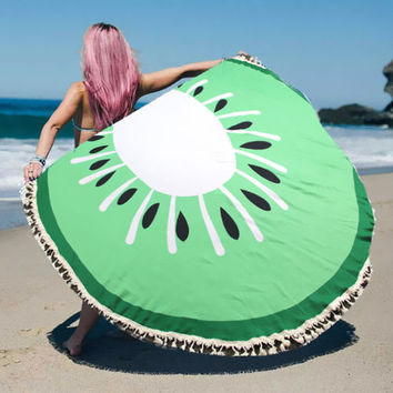 Round Beach Towel Green Kiwi Print Wrap Poncho with Tassel Trim 329510