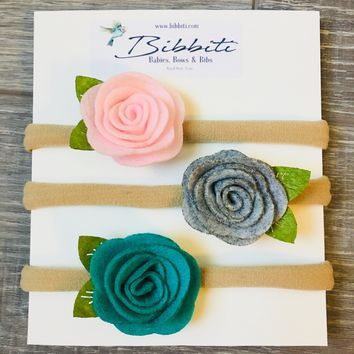 Felt Rose Baby Headband - Light Pink, Gray, Teal - 3 Pack