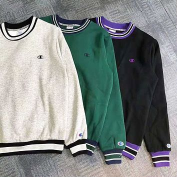 Champion New fashion bust embroidery logo couple hooded long sleeve sweater top