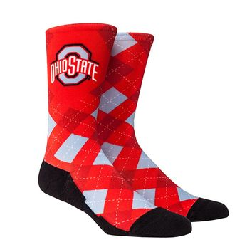 Rock Em Elite Ohio State HyperOptic Argyle NCAA Licensed Crew Socks (L/XL)