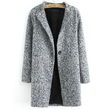 Popular Newest Spring Casual Hot Sale Women's Fashion Grey Long Sleeve Single Button Tweed Coat