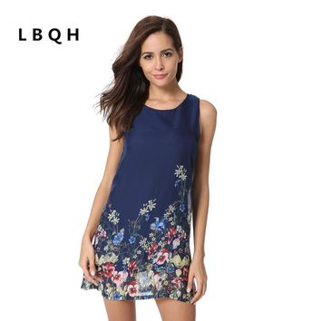 LBQH 2017 The New Ms fashion summer Sexy sleeveless Brands dress high quality cotton Chiffon printing Women T-shirts Dresses