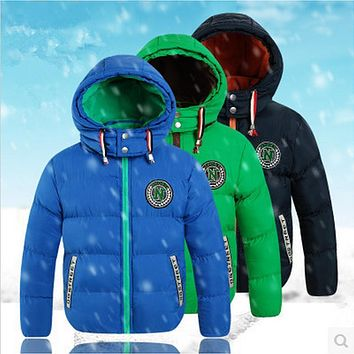 Children's Clothing 2017 Winter Boys Fashion Outerwear & Coats Cotton-padded jacket Hooded Plus Velvet Thicken Jackets For Boys