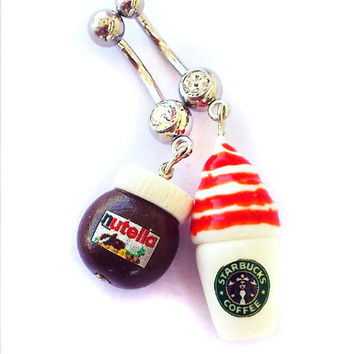 Nutella / Starbucks Coffee inspired Jeweled Navel Piercing - Surgical Steel Belly Button Ring - Chocolate Sweet Miniature Kawaii Girlie Cute