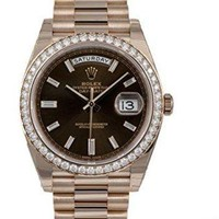 Rolex Oyster Perpetual Day-Date 40mm 18K Everose Gold Watch With Everose Gold Bezel Set With 48 Diamonds,